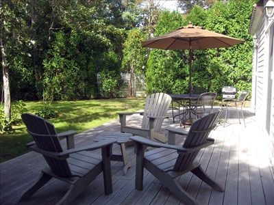 Furnished Deck with Gas Grill and Private Back Yard