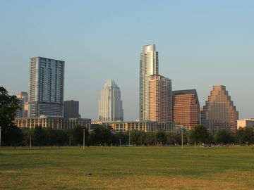 Enjoy Austin: take in the downtown view of Austin from Butler Park.