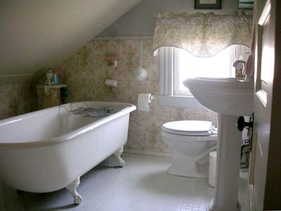 Upstairs bath with original clawfoot tub