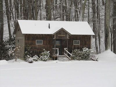 Snow-topped Creekside Cabin in January, 2012