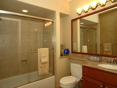Beautiful Guest Bathroom With Marble Countertops & Travetine Floors!
