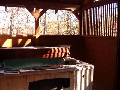 Relax in a large HOT TUB in a very private gazebo with access to covered deck