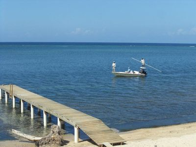 Fly Fishing just off Guanaja Caribbean Cottages Resort.