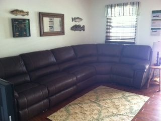 Barnstead house photo - The new, suede, sectional sofa with recliners on each end. Total relaxation.