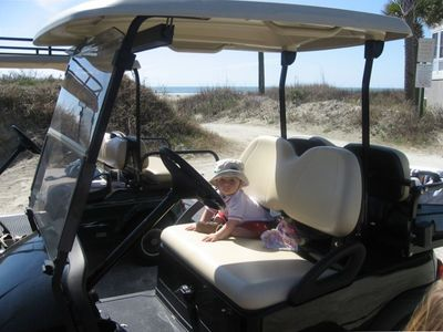 Golf cart allows you to easily get to/ from the beach & around resort in comfort