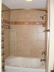 "Cowen cabin photo - Tile bathroom with 42"" Spa Tub"
