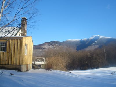 Winter view of Mt Mansfield, pond side of house