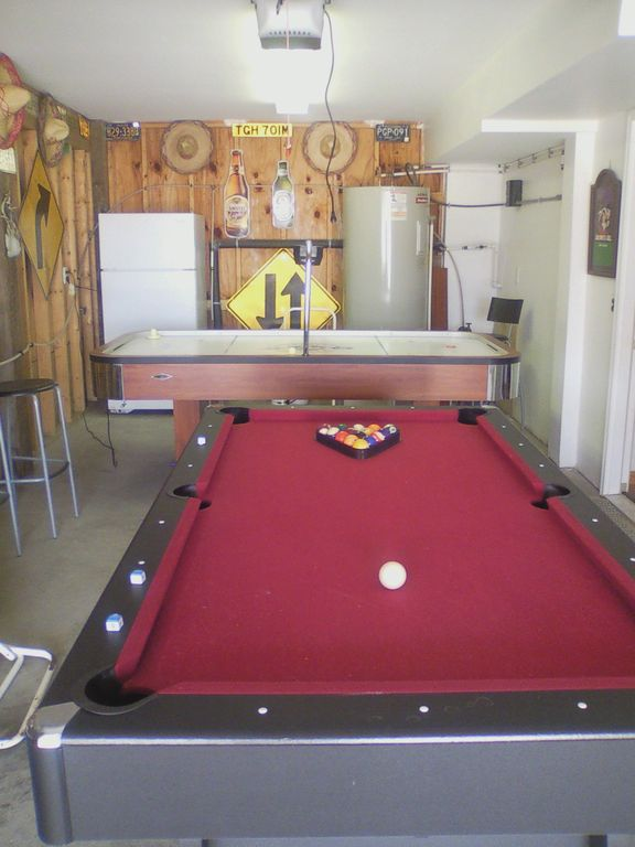 7' pool/ping pong table, air hockey, fridge, ice machine, radio