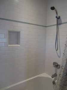Close up view of the custom bathroom with subway tiles