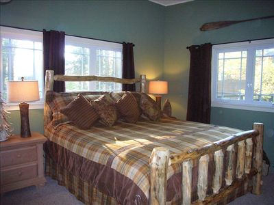 Master bedroom, main floor, king log bed