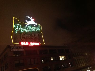 The Landmark White Stag sign in Old Town, downtown, just a mile from the hous