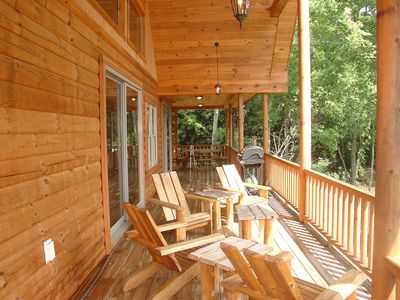 Lake Nantahala house rental - Cocktail hour overlooking lake and mountains.