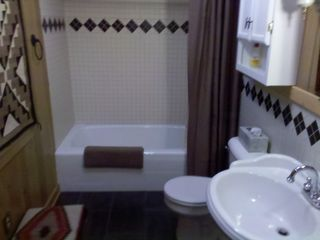 Northport cottage photo - Newly tiled second bath, with a North Woods theme.