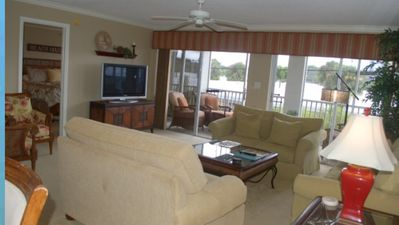 Large living room with two sliding doors!