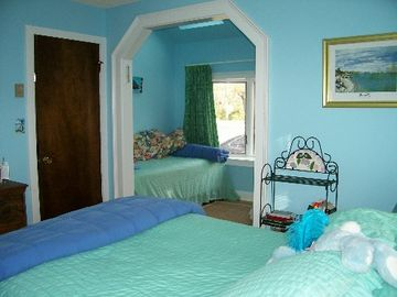 Blue Bedroom Queen with Single in Sitting Area