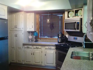 North Muskegon house photo - Kitchen with gas stove, microwave