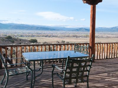 Deck View Of Ranchitos Valley, Town Of Taos, And Southern Mountains.