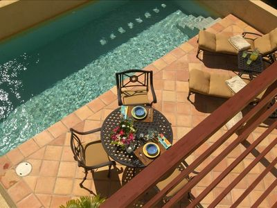 Overhead view of Terrace Dining, Chaise Lounge Chairs & Lap Pool