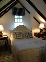 Woodstock farmhouse photo - Guest bedroom #3- queen bed. Also a crib in this room if needed. Seperate stair.