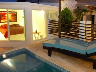 Playa del Carmen condo photo - Swimming Pool at Night