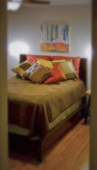 San Antonio bungalow photo - Copper Room with glass spiral pennant lights and a 'Heavenly' King Koil mattress