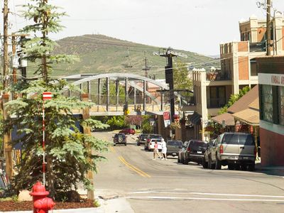 View from street looking at the Town Bridge and Town Lift at Park City Mountain