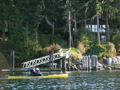 Launch you kayak from the dock and enjoy a paddle in sheltered Sooke Harbor