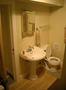 A clean, fresh bathroom for you.....