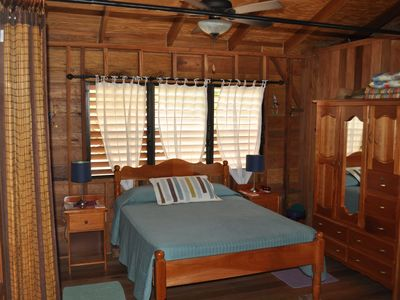 Bedroom #1 with wardrobe and bamboo privacy curtains