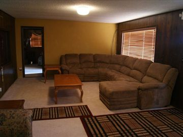 New sectional sofa/recliner gives plenty of room for everyone to relax & vis