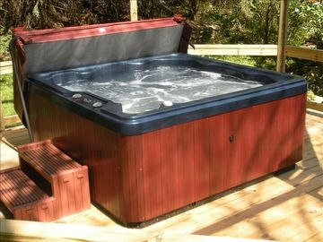 6 person hot tub overlooking creek
