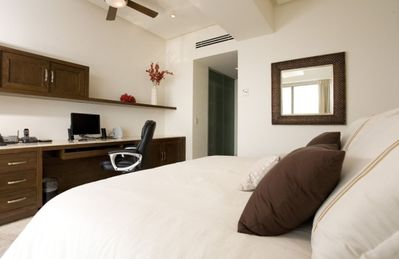 Bedroom/Office with King Bed and Sliding Glass Doors to Oceanview Balcony