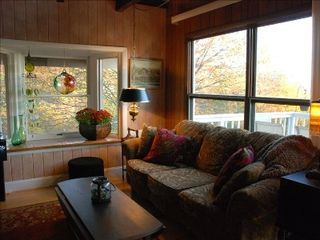 Banner Elk house photo - Living Room with gas fireplace opens to kitchen and dining room