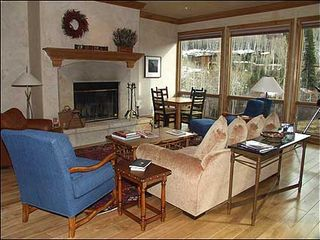 Snowmass Village house photo - Spacious Living Room with Wood Burning Fireplace