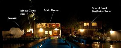 Full Manor Night vew. Main House on Left, Game Room on Right.
