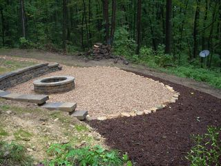 Stanardsville cabin photo - Firepit area. S'mores anyone? (Not in the photo - 4 Adirondack chairs/2 tables.)
