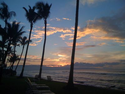 Honokowai condo rental - Our favorite time of the day--out on the oceanfront lounge chairs relaxing! ahhh