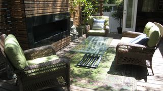 Santa Monica property rental photo - Beautiful Outdoor Deck with Outdoor Fireplace