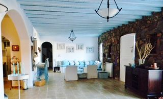 Mykonos villa photo - Spacious open living, wooden floors and tile