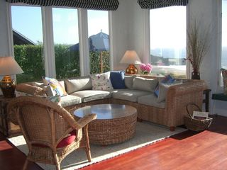 Bodega Bay cottage photo - Living room with view of Wright's Beach