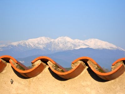 view of the Canigou, from the terrace