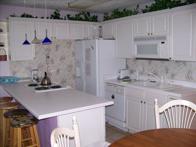 Fully equipped kitchen, eat in and save money or walk to many nearby restaurants