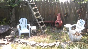 Backyard, chiminea, fire pit