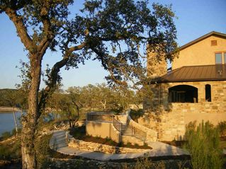 Spicewood estate photo - Golf cart path from custom garage entry out to lake, back patio & pool
