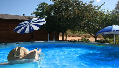 Joshua Tree cabin rental - Warm air & cool water in the pool.