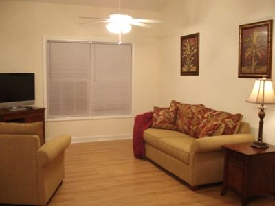 Spacious den with big screen TV!