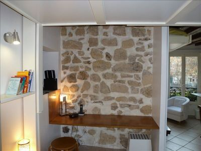 Stone wall and desk