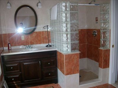 Lake Ariel chalet rental - Master Bath with stand up shower.