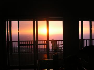 a sunset view from the kitchen