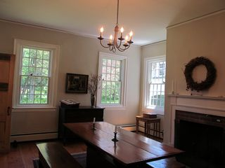 Woodstock house photo - Dining room with fireplace. Vermont ambiance at it's best! Lots of light.